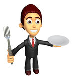 3D Business man Mascot the hand is holding a fork and plate. Wor Stock Images