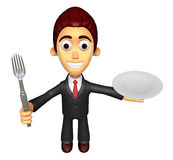 3D Business man Mascot the hand is holding a fork and plate. Wor Stock Photos