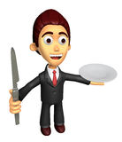3D Business man Mascot the hand is holding a knife and plate. Wo Royalty Free Stock Photos
