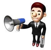 3D Business man Mascot the hand is holding a loudspeaker. Work a Royalty Free Stock Photography