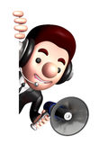 3D Business man Mascot the hand is holding a loudspeaker Royalty Free Stock Photography