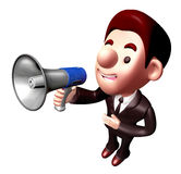 3D Business man Mascot the hand is holding a loudspeaker Stock Photography