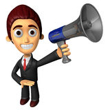 3D Business man Mascot the hand is holding a loudspeaker. Work a Stock Images