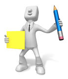 3D Business man mascot hand is holding a pencil and board. 3D Sq Stock Photo