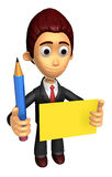 3D Business man mascot hand is holding a pencil and board. Work Stock Photography