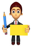 3D Business man mascot hand is holding a pencil and board. Work Royalty Free Stock Photography