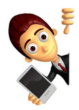 3D Business man Mascot hand is holding a Smart Phone and Big adv Royalty Free Stock Image