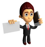 3D Business man Mascot the hand is holding a Smart Phone and bus Royalty Free Stock Photography
