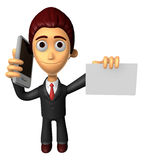 3D Business man Mascot the hand is holding a Smart Phone and bus Royalty Free Stock Photo