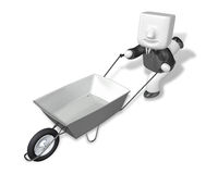 3D Business man Mascot handcart. 3D Square Man Series. Royalty Free Stock Photos