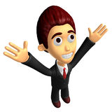 3D Business man mascot has been welcomed with both hands. Work a Stock Photos