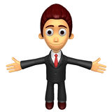 3D Business man mascot has been welcomed with both hands. Work a Stock Photography