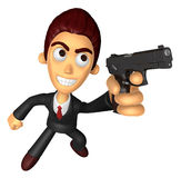 3D Business man Mascot is holding a Automatic pistol pose. Work Royalty Free Stock Photography
