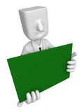 3D Business man Mascot holding a big board with both Green chalk Royalty Free Stock Image