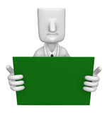 3D Business man Mascot holding a big board with both Green chalk Royalty Free Stock Photos