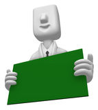 3D Business man Mascot holding a big board with both Green chalk Royalty Free Stock Photography