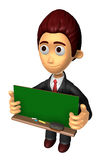 3D Business man Mascot holding a big board with both Green chalk Royalty Free Stock Images