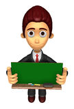 3D Business man Mascot holding a big board with both Green chalk Stock Image