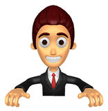 3D Business man Mascot holding a big board with both hands. Work Stock Image