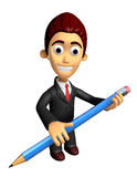 3D Business man mascot holding a big board with both Pencil. Wor Royalty Free Stock Image