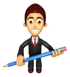 3D Business man mascot holding a big board with both Pencil. Wor Stock Photography