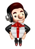 3D Business man Mascot holding a big gift box Stock Photography