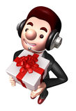 3D Business man Mascot holding a big gift box Stock Photo