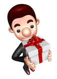 3D Business man Mascot holding a big gift box Royalty Free Stock Image