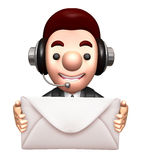 3D Business man Mascot holding a large letter Royalty Free Stock Photo