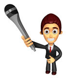 3D Business man Mascot is holding a microphone. Work and Job Cha Royalty Free Stock Photo