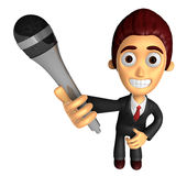 3D Business man Mascot is holding a microphone. Work and Job Cha Stock Photography