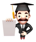 3D Business man Mascot is holding paper documents Royalty Free Stock Image