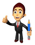 3D Business man Mascot the left hand best gesture and right hand Royalty Free Stock Photography