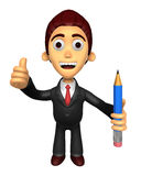 3D Business man Mascot the left hand best gesture and right hand Royalty Free Stock Photo