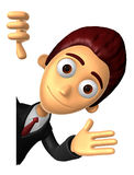 3D Business man Mascot the left hand guides and right hand is ho Stock Images