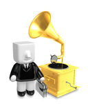 3D Business man Mascot and old record player. 3D Square Man Seri Stock Photo