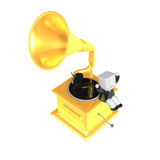 3D Business man Mascot and old record player. 3D Square Man Seri Stock Photography