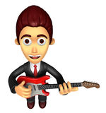 3D Business man Mascot playing the electric guitar. Work and Job Royalty Free Stock Image