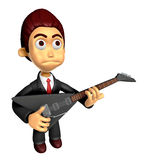 3D Business man Mascot playing the electric guitar. Work and Job Royalty Free Stock Photos