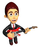 3D Business man Mascot playing the electric guitar. Work and Job Stock Images