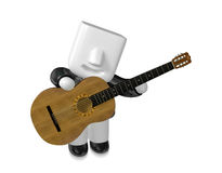 3D Business man Mascot playing the guitar. 3D Square Man Series. Stock Photography