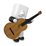 3D Business man Mascot playing the guitar. 3D Square Man Series. Royalty Free Stock Photography
