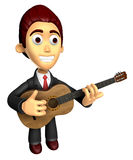 3D Business man Mascot playing the guitar. Work and Job Characte Stock Photography