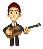 3D Business man Mascot playing the guitar. Work and Job Characte Royalty Free Stock Photos