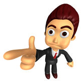 3D Business man Mascot point the finger of blame. Work and Job C Stock Photos