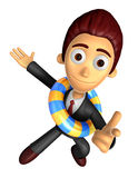 3D Business man Mascot Pointing fingers gesture of anger wearing Royalty Free Stock Photo