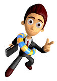 3D Business man Mascot Pointing fingers gesture of anger wearing Stock Image