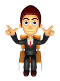 3D Business man Mascot Pointing fingers gesture of anger. Work a Stock Photos