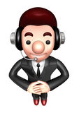 3D Business man Mascot is a polite greeting Stock Photo