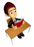 3D Business man Mascot read in one´s leisure hours. Work and Jo Stock Images